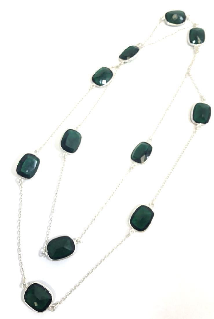 GORGEOUS GREEN TOPAZ LONG STERLING NECKLACE