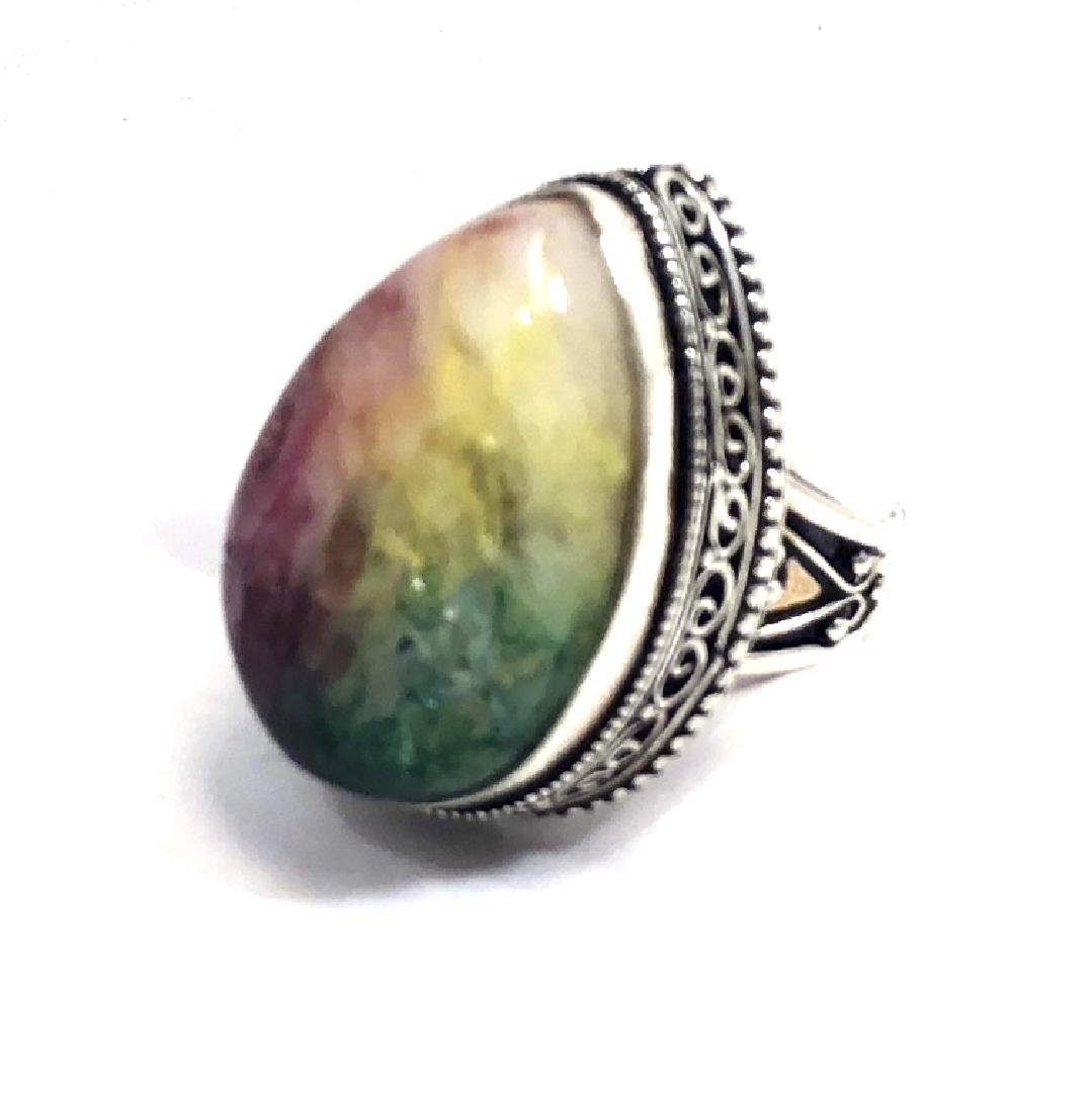 VINTAGE COLORED SMOOTH AGATE GEMSTONE RING