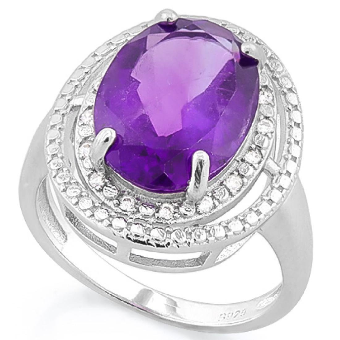 HUGE 5CT FACETED OVAL AMETHYST/DIAMOND DECO RING