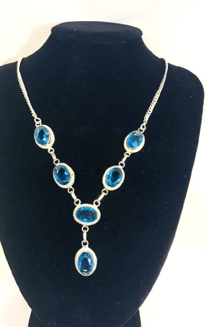LADIES SKY BLUE TOPAZ FACETED GEMSTONE NECKLACE