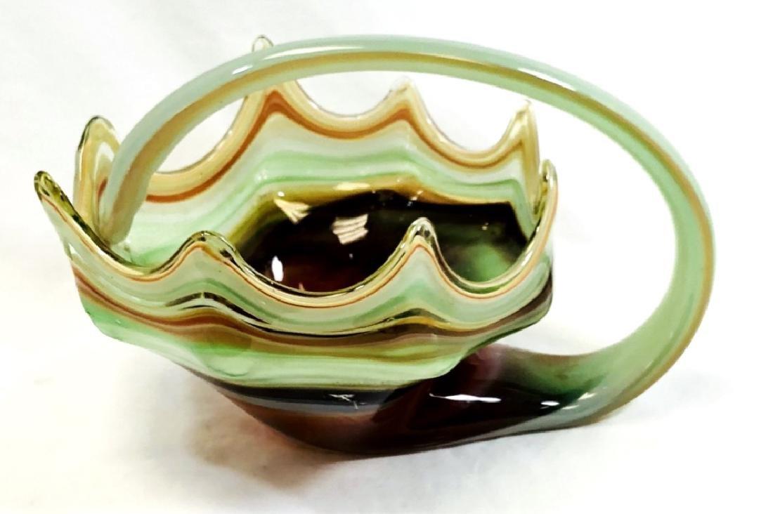 VINTAGE MURANO RED/GREEN SWIRL ART DECO BOWL