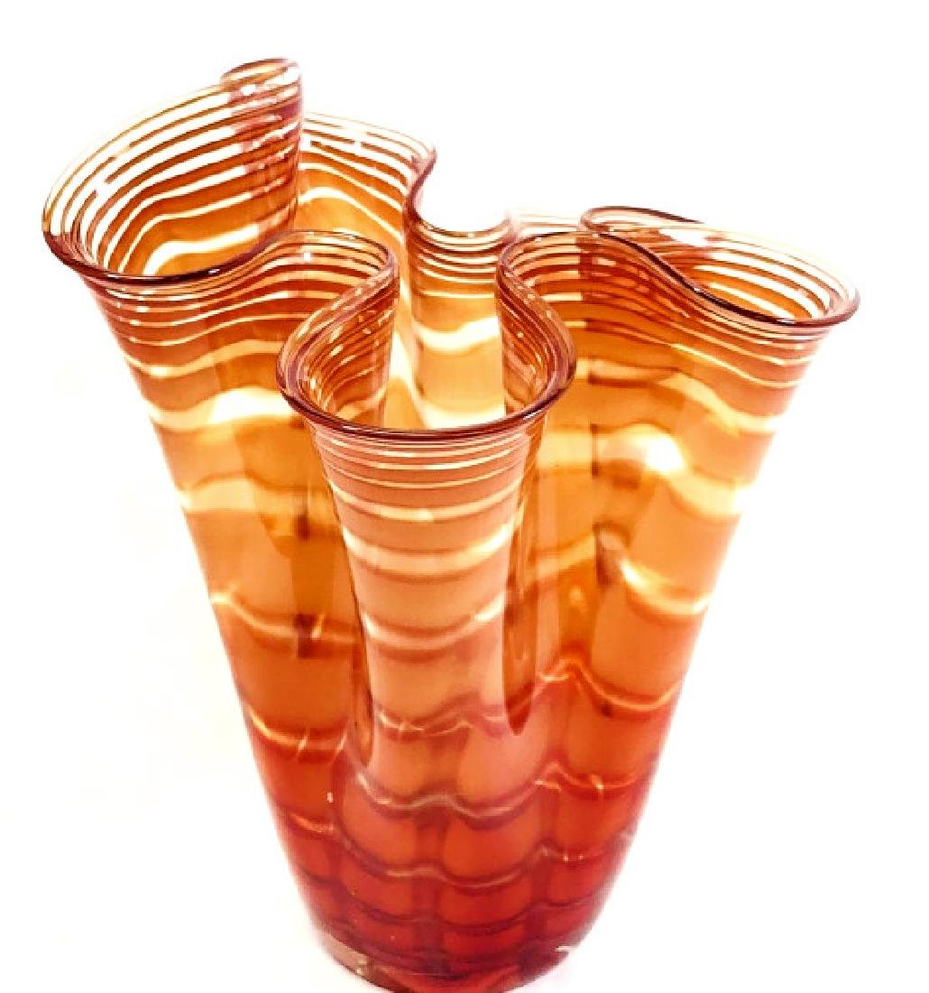 GORGEOUS MURANO MUTED ORANGE RUFFLE GLASS VASE