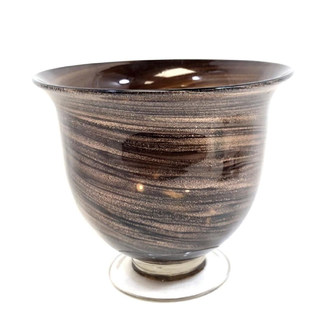 MURANO GOLD SWIRL/BROWN VINTAGE GLASS BOWL