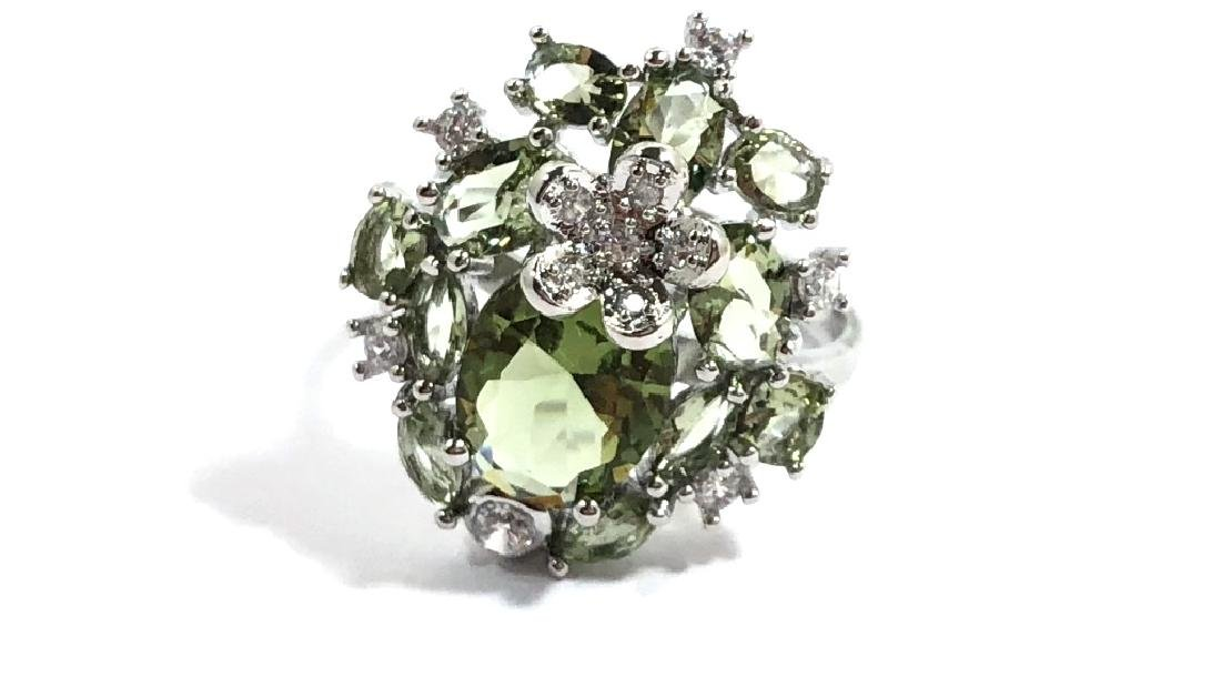 BEAUTIFUL GREEN AMETHYST FILIGREE COCKTAIL RING