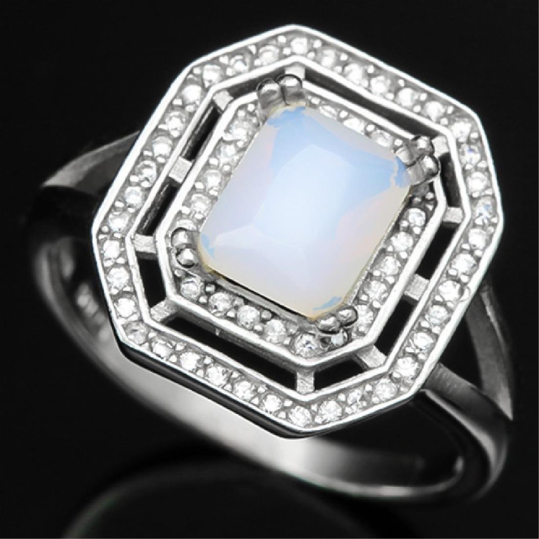 1CT SMASHING ART DECO FIRE OPAL STERLING RING
