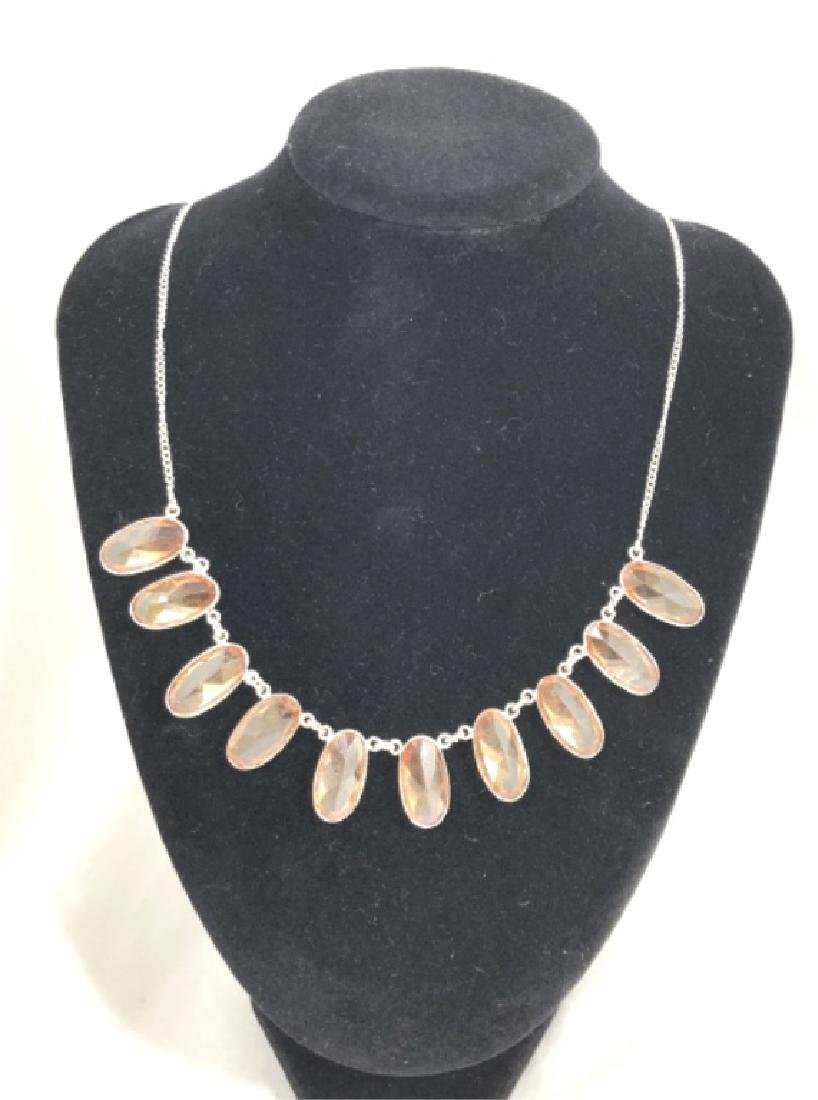 LADIES LONG FACETED SPARKLING GEMSTONE NECKLACE