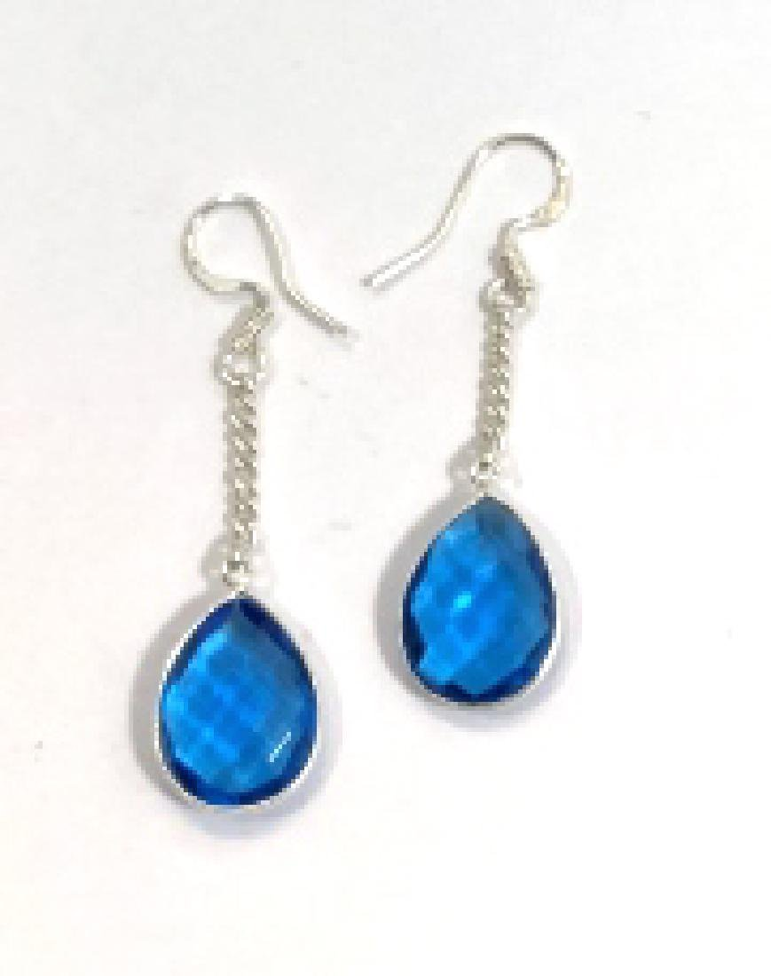 FACETED 10CT SWISS BLUE TOPAZ STERLING EARRINGS