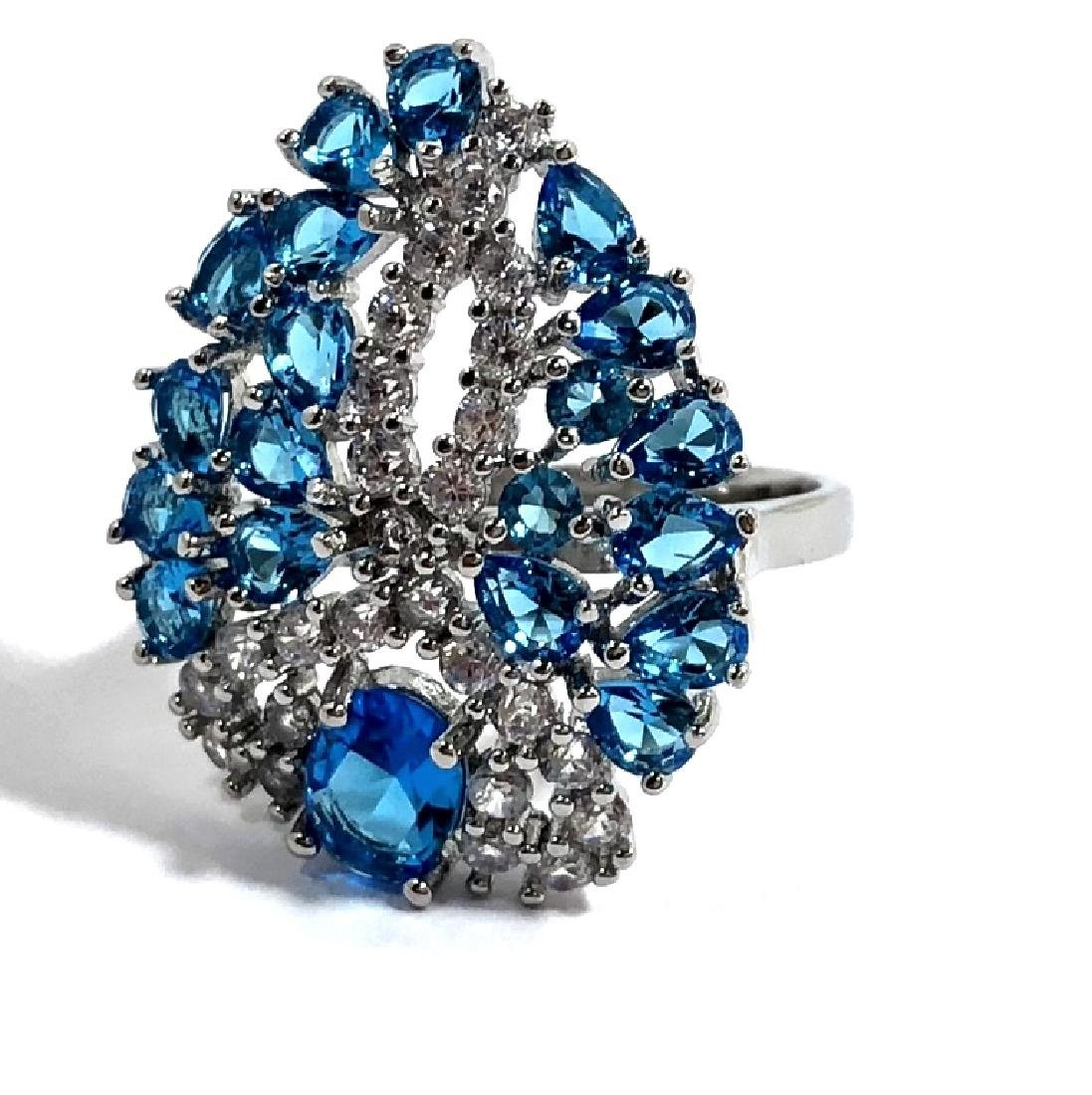 GLAM BLUE AND WHITE TOPAZ LADIES COCKTAIL RING