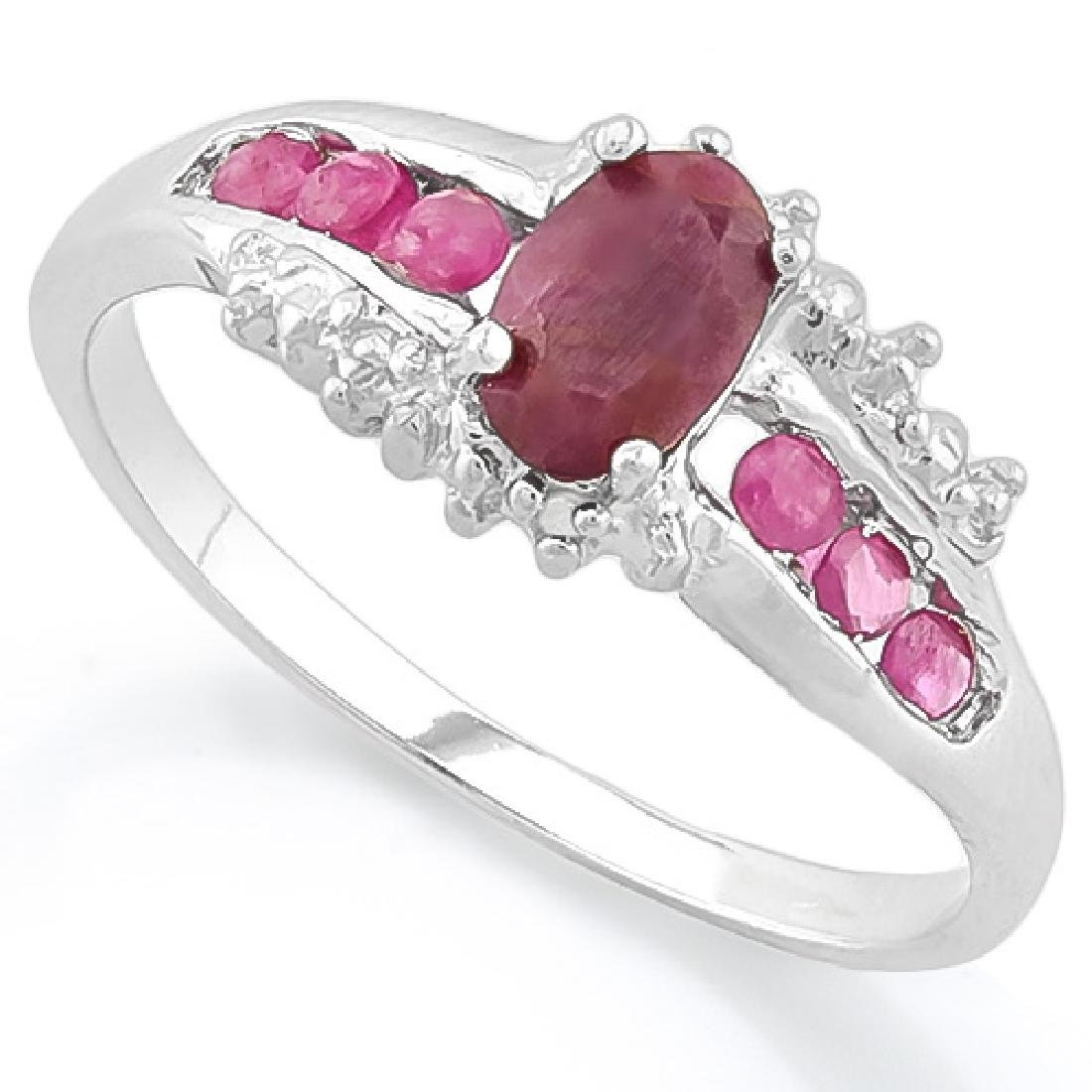 ANTIQUE STYLE GENUINE RUBY STERLING ESTATE RING