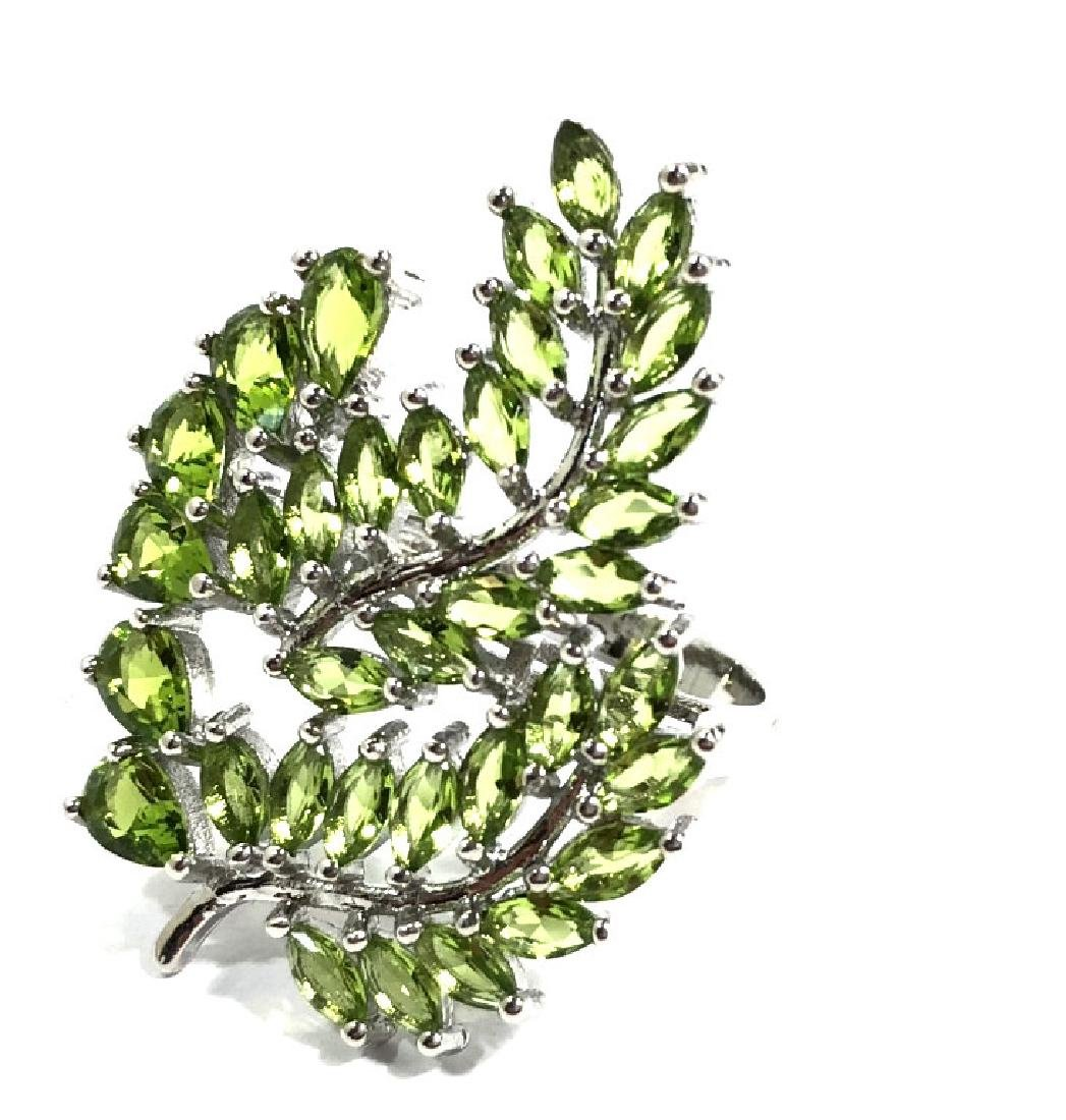 UNIQUE GREEN PERIDOT STERLING FANCY ESTATE RING