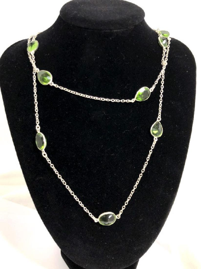 LADIES LONG FACETED PEAR CUT NECKLACE