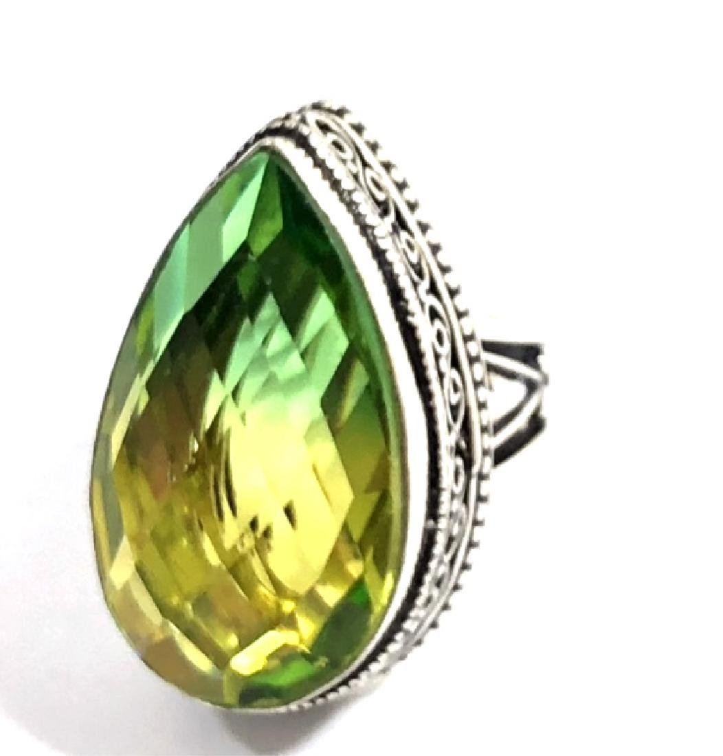 HUGE 20CT YELLOW TO GREEN TOURMALINE FILIGREE RING