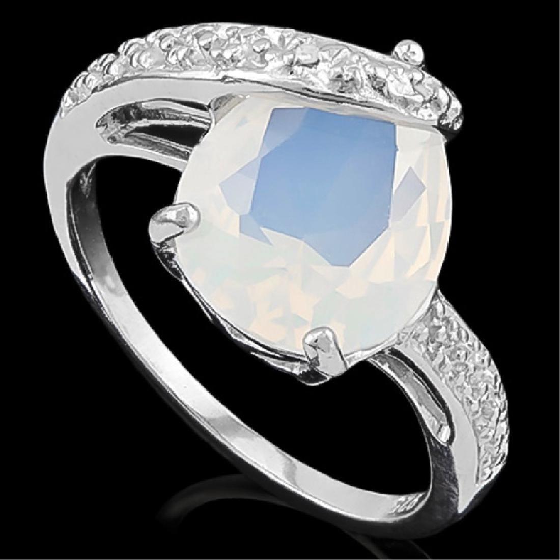 ART DECO FIRE OPAL/DIAMOND STERLING SILVER RING