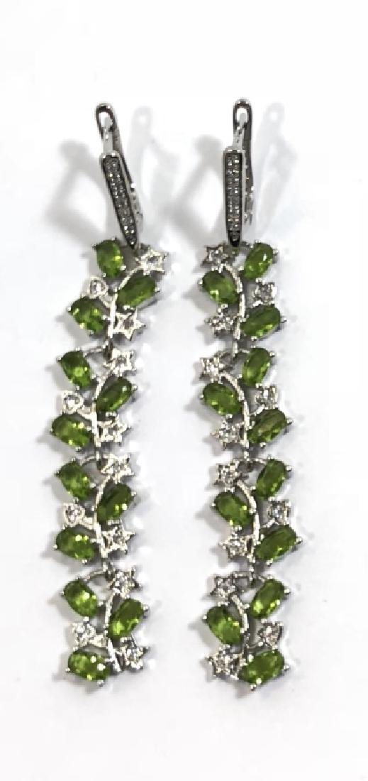 ELEGANT GREEN PERIDOT STERLING DANGLE EARRINGS