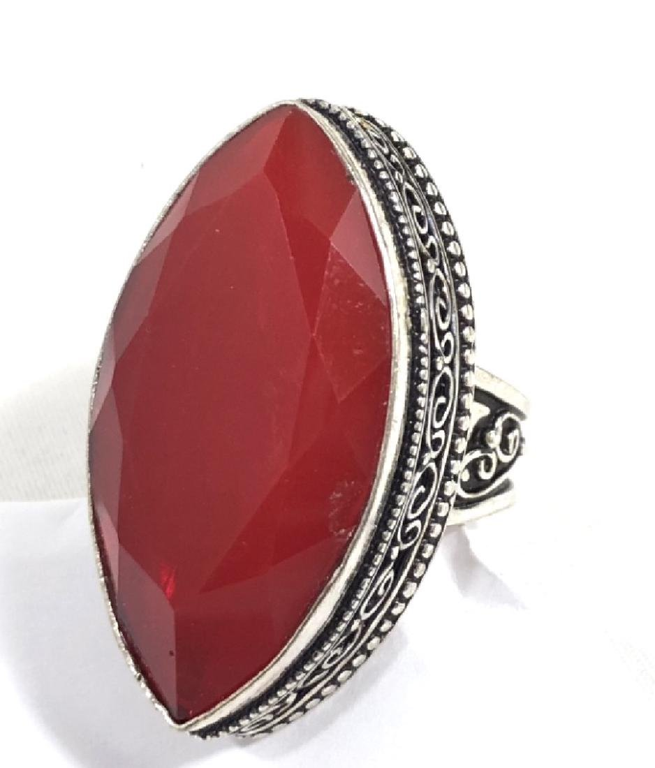 AMAZING 34CT ITALIAN RED CORAL MARQUIS CUT RING