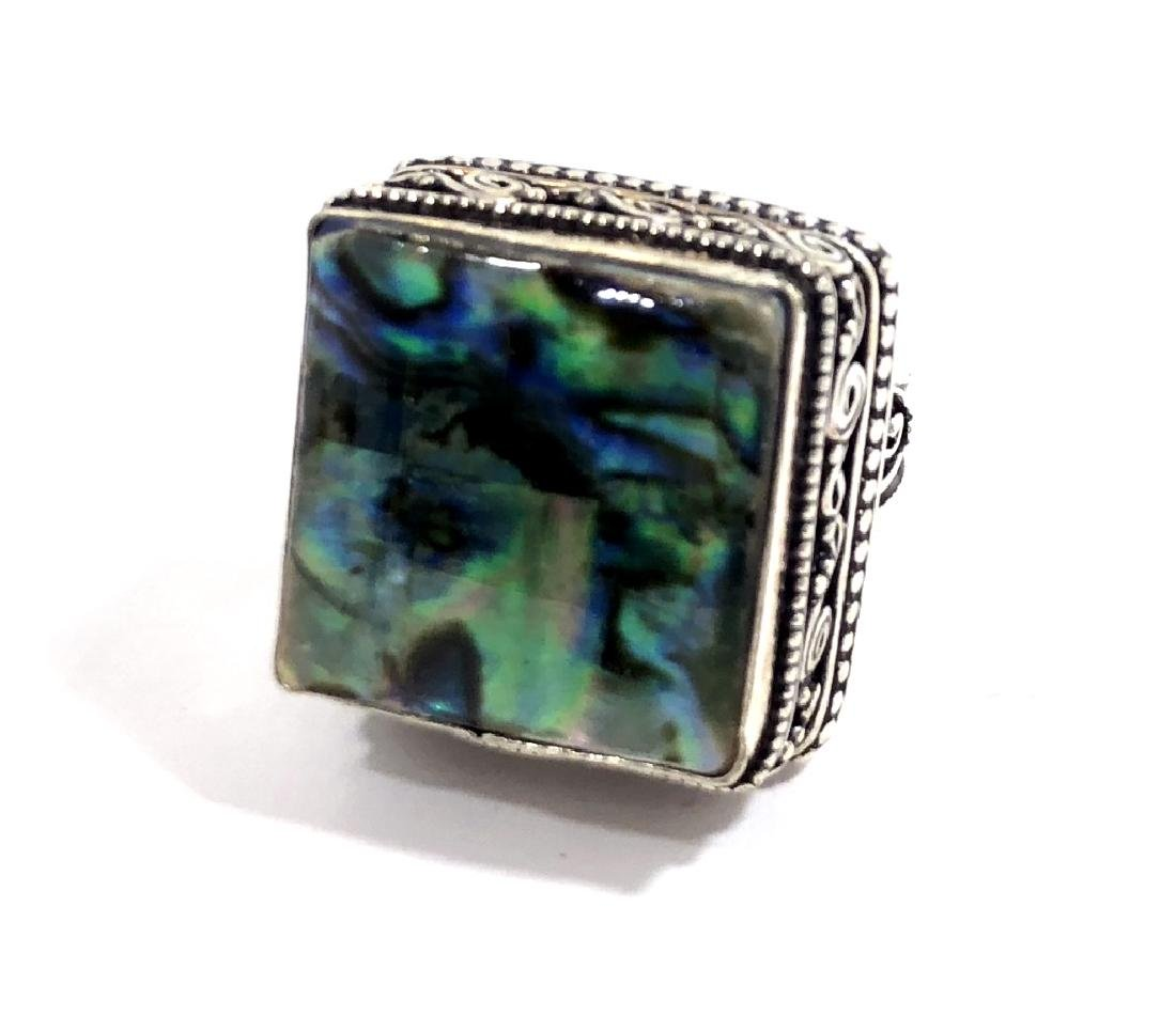 COOL ABALONE SHELL SQUARE CUT STERLING RING