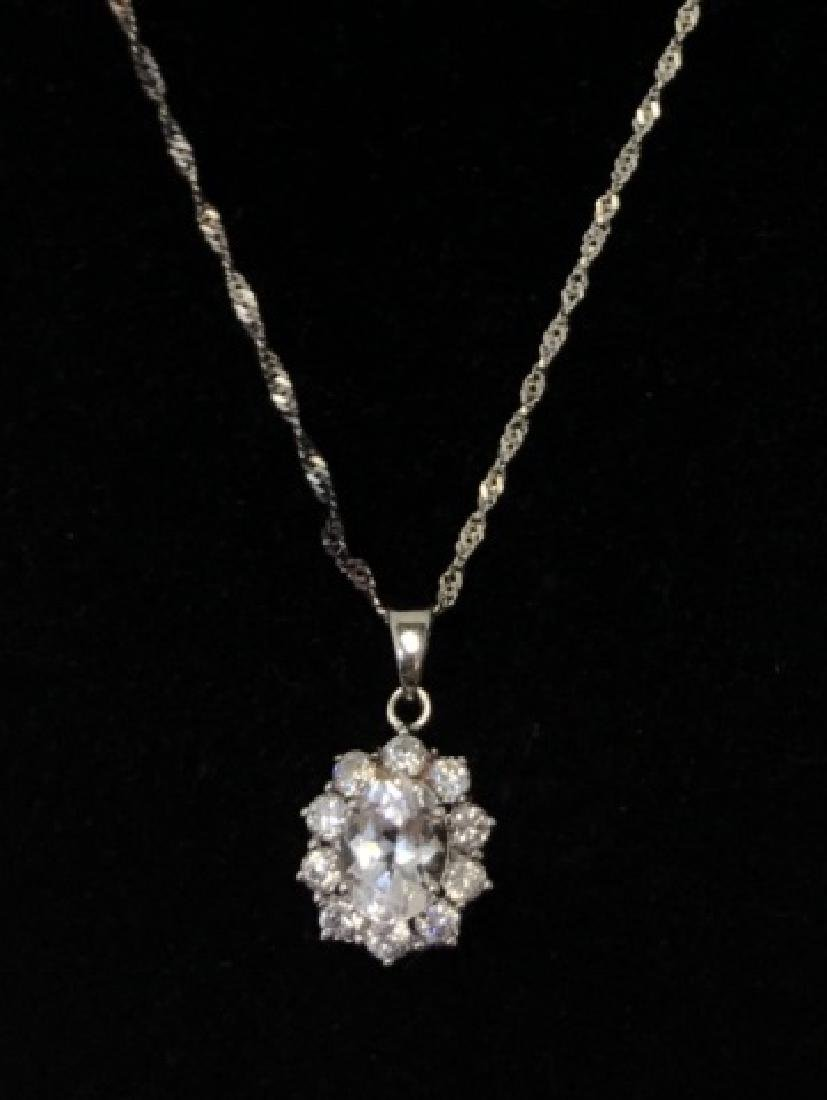 5CT CZ FLORAL PENDANT STERLING SILVER NECKLACE