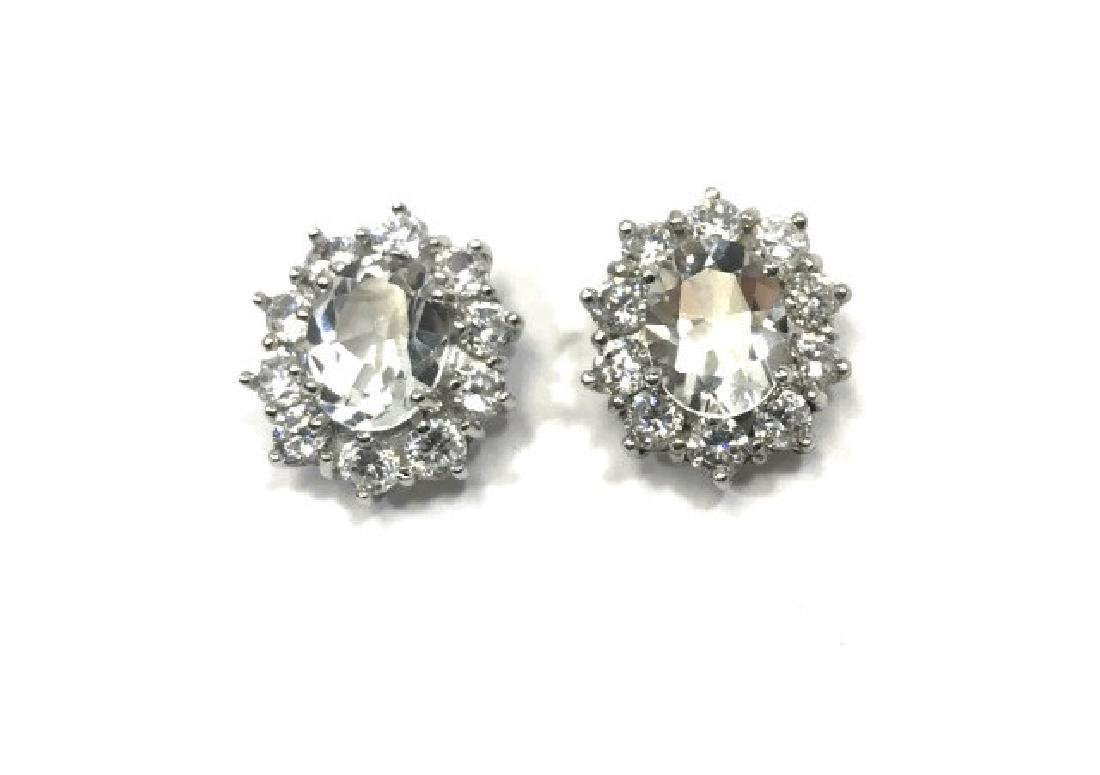 LADIES SPARKLING WHITE TOPAZ STERLING EARRINGS