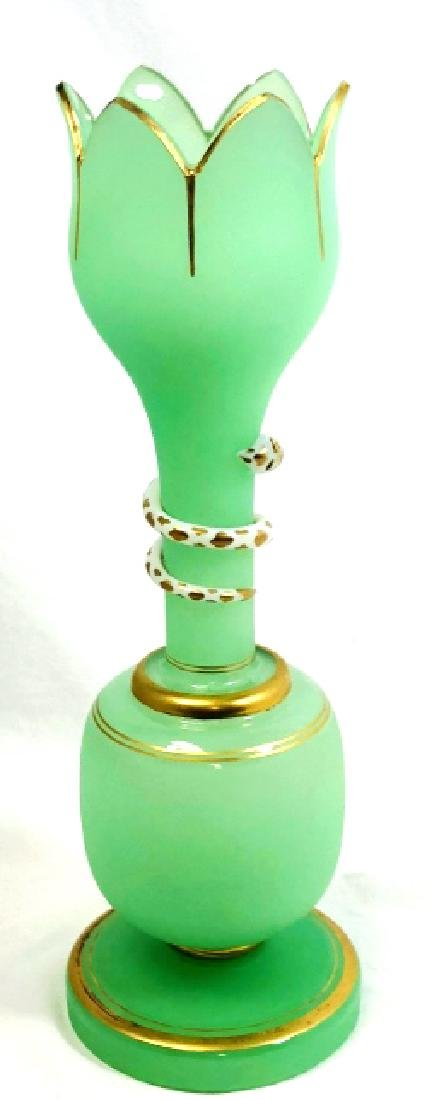 VINTAGE ART DECO GREEN SNAKE WRAP GOLD ACCENT VASE