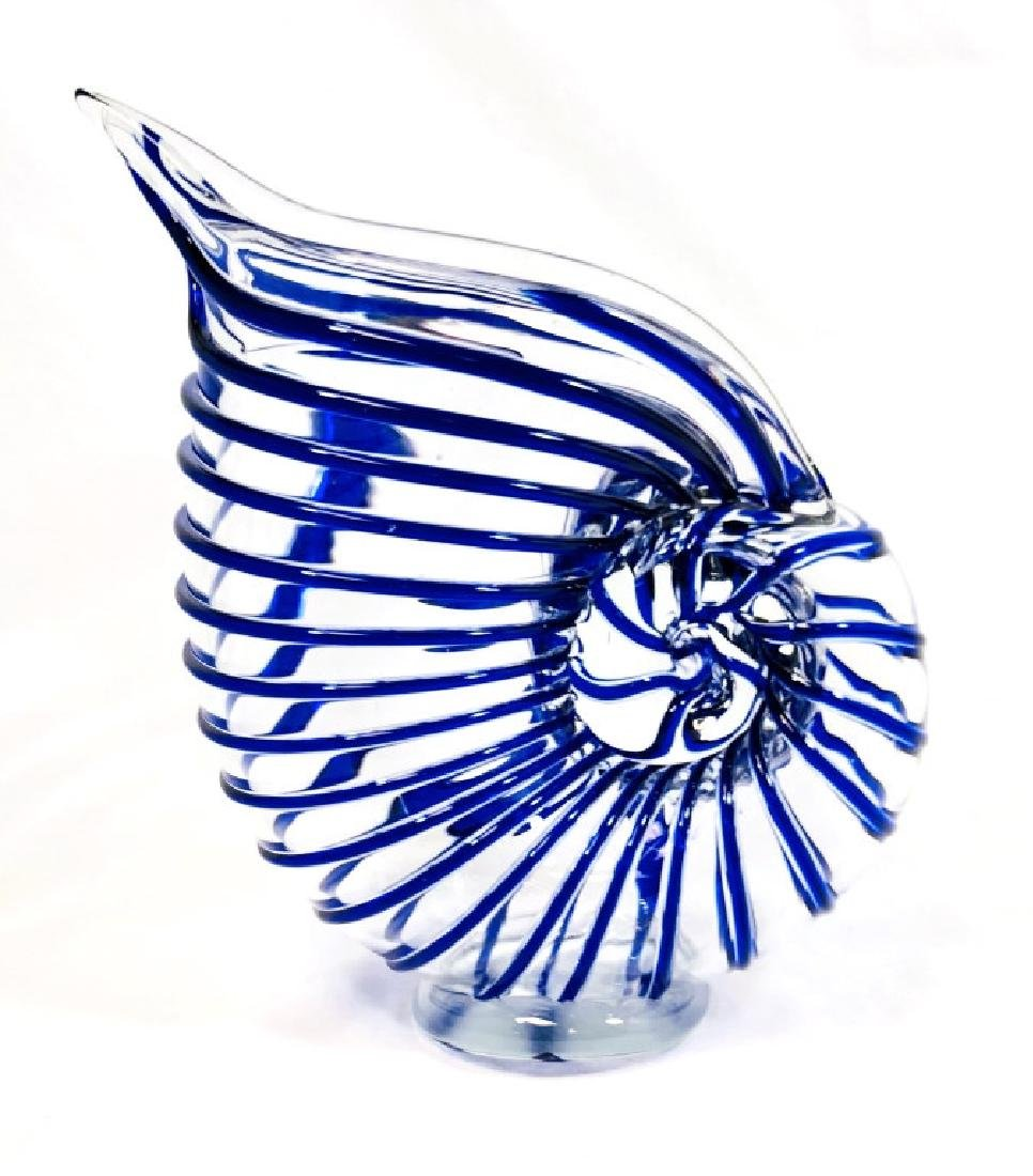 GORGEOUS COBALT GLASS WRAP MURANO SHELL SCULPTURE