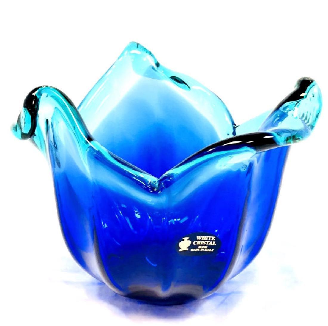 FANTASTIC MURANO BLUE/GREEN FLOWER PETAL BOWL