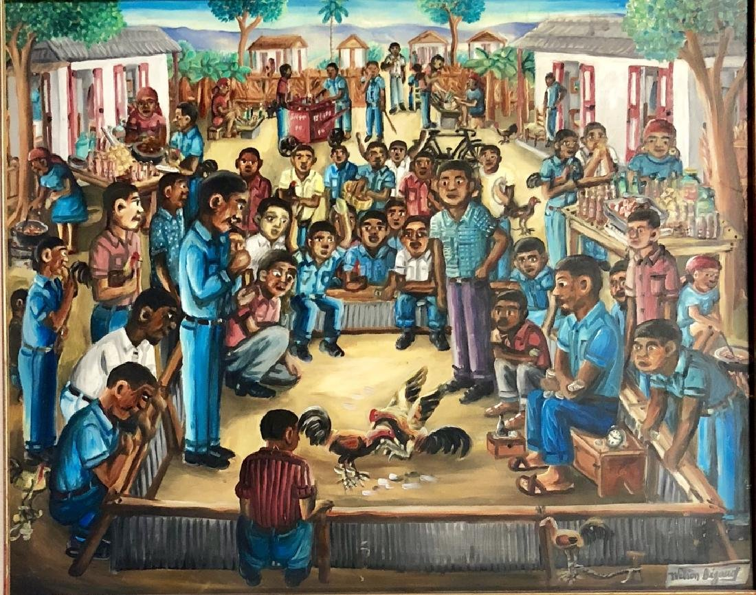 WILSON BIGAUD HAITIAN FOLK ART ON CANVAS V$3,000