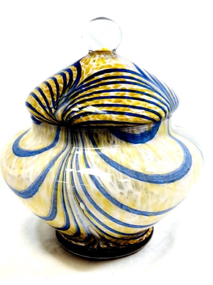 SPLENDID BLUE SWIRL VENETIAN GLASS LIDDED BOWL