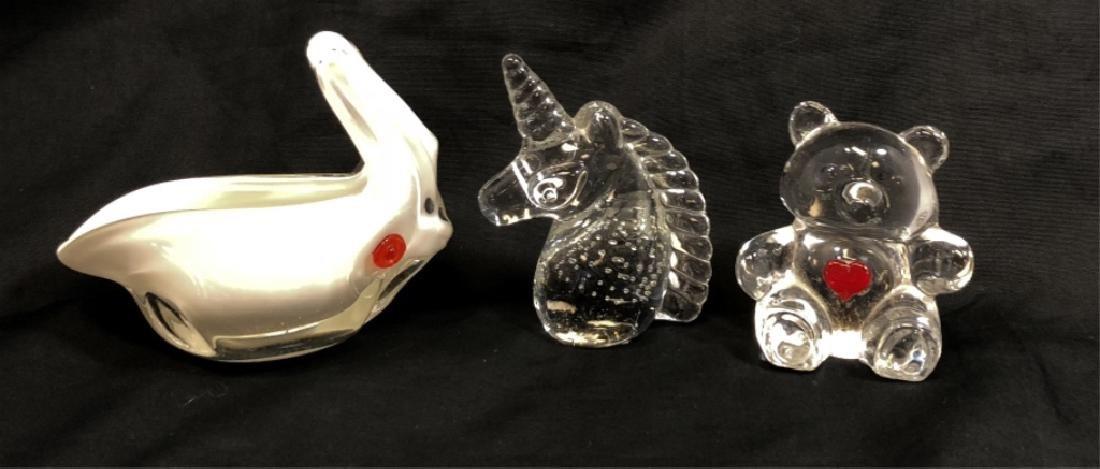 LOT OF 3 VINTAGE ART GLASS ANIMALS