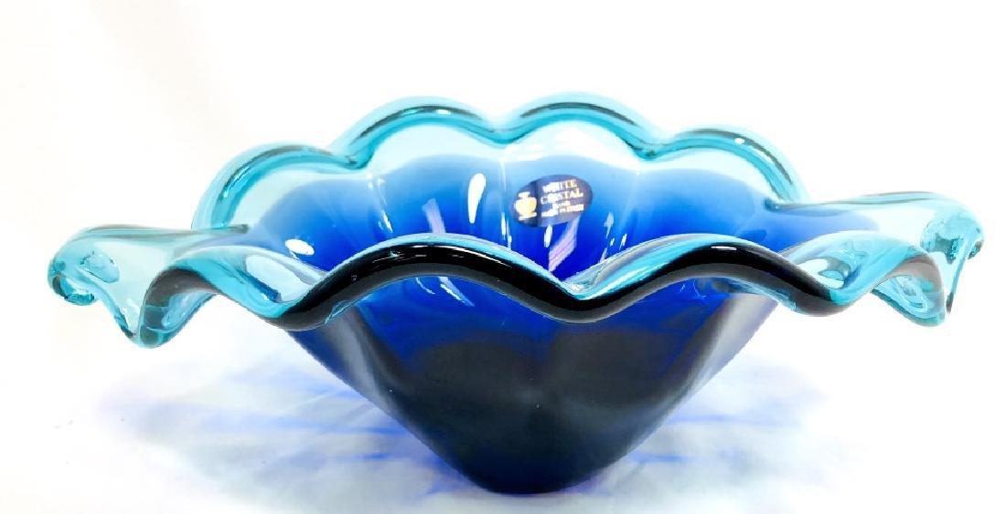 GORGEOUS MURANO BLUE/GREEN RUFFLE GLASS BOWL - 2