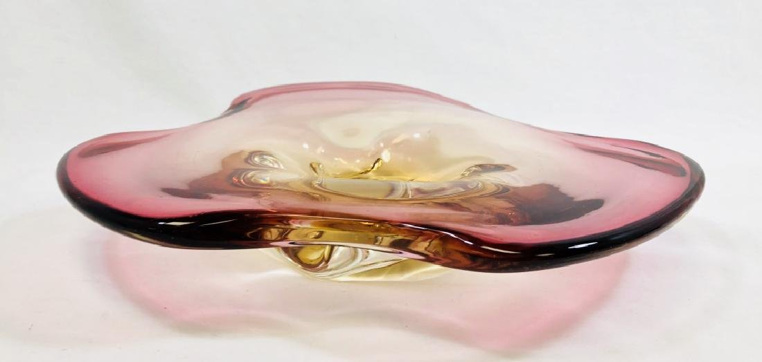 VINTAGE MURANO SOMMERSO PINK GLASS DISH - 2
