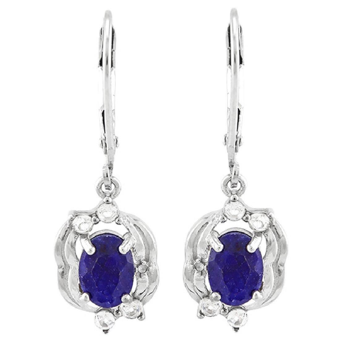 BEAUTIFUL BLUE SAPPHIRE/WHITE TOPAZ STERLING EARGS