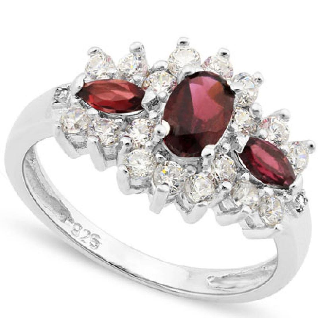 GORGEOUS GARNET AND WHITE TOPAZ ANTIQUE STYLE RING