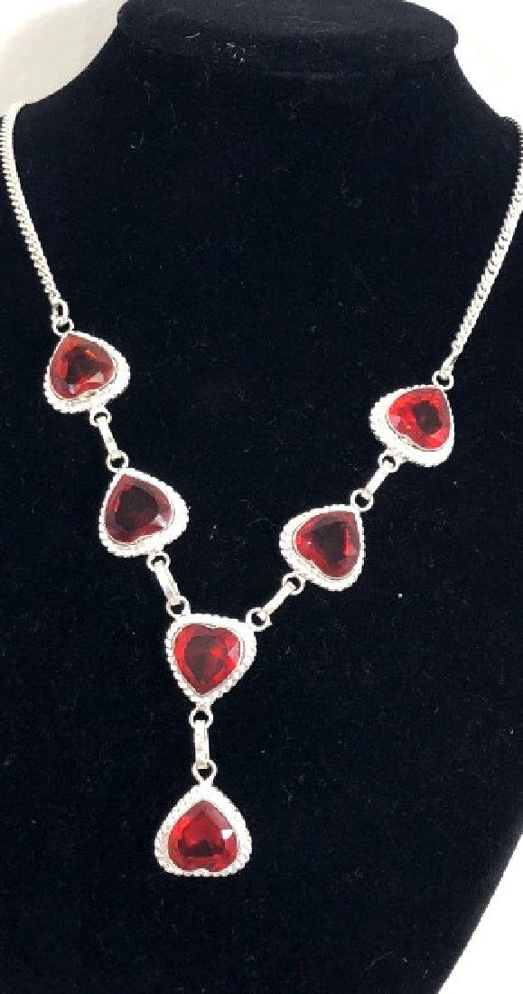 LOVELY HEART CUT FACETED RED QUARTZ NECKLACE