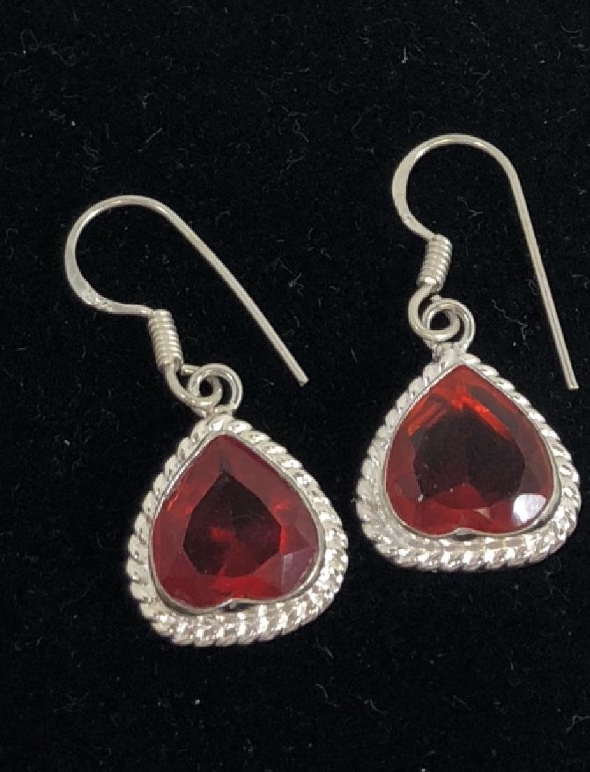 STERLING SILVER FACETED RED QUARTZ EARRINGS