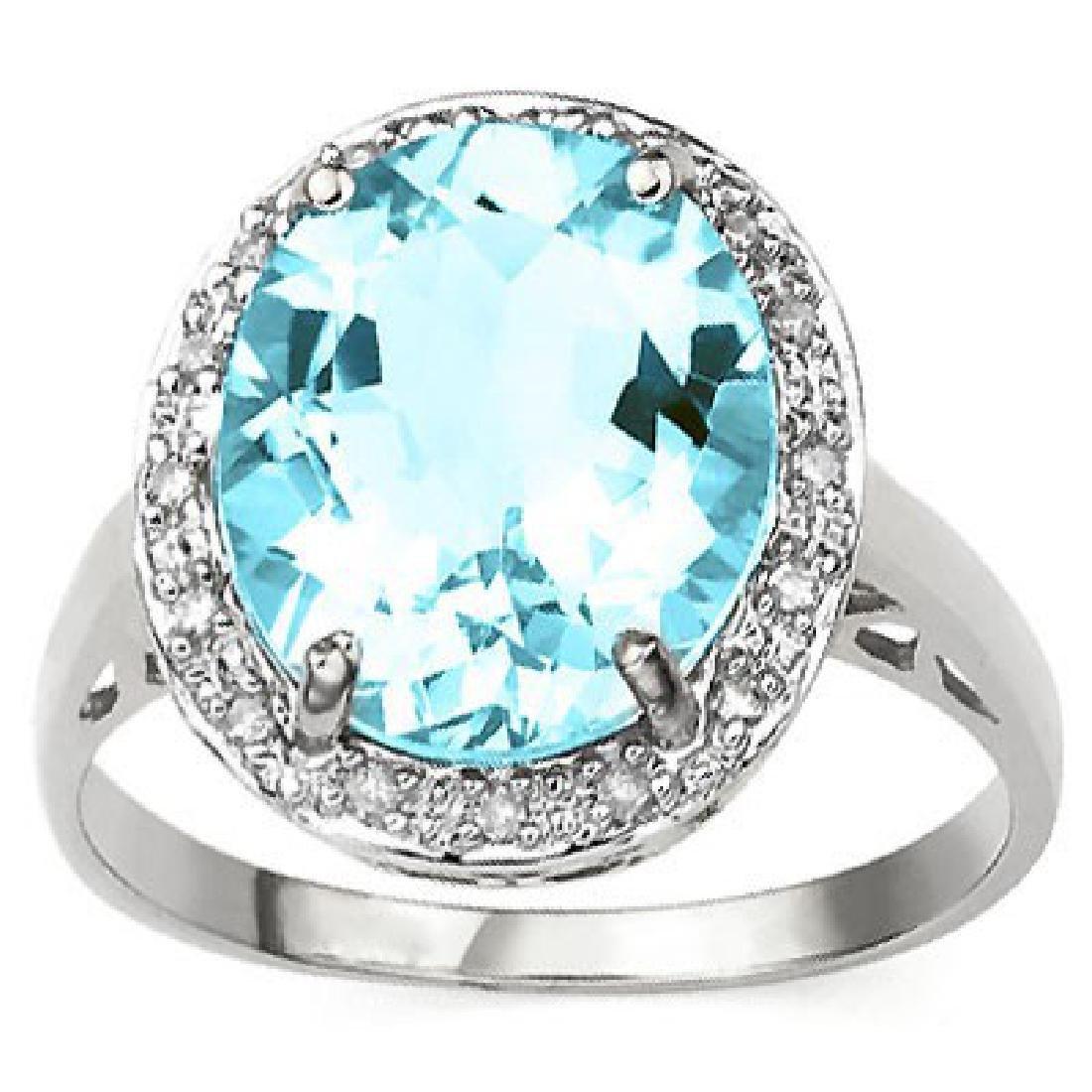 HUGE 6CT OVAL CUT BLUE TOPAZ/DIAMOND ESTATE RING