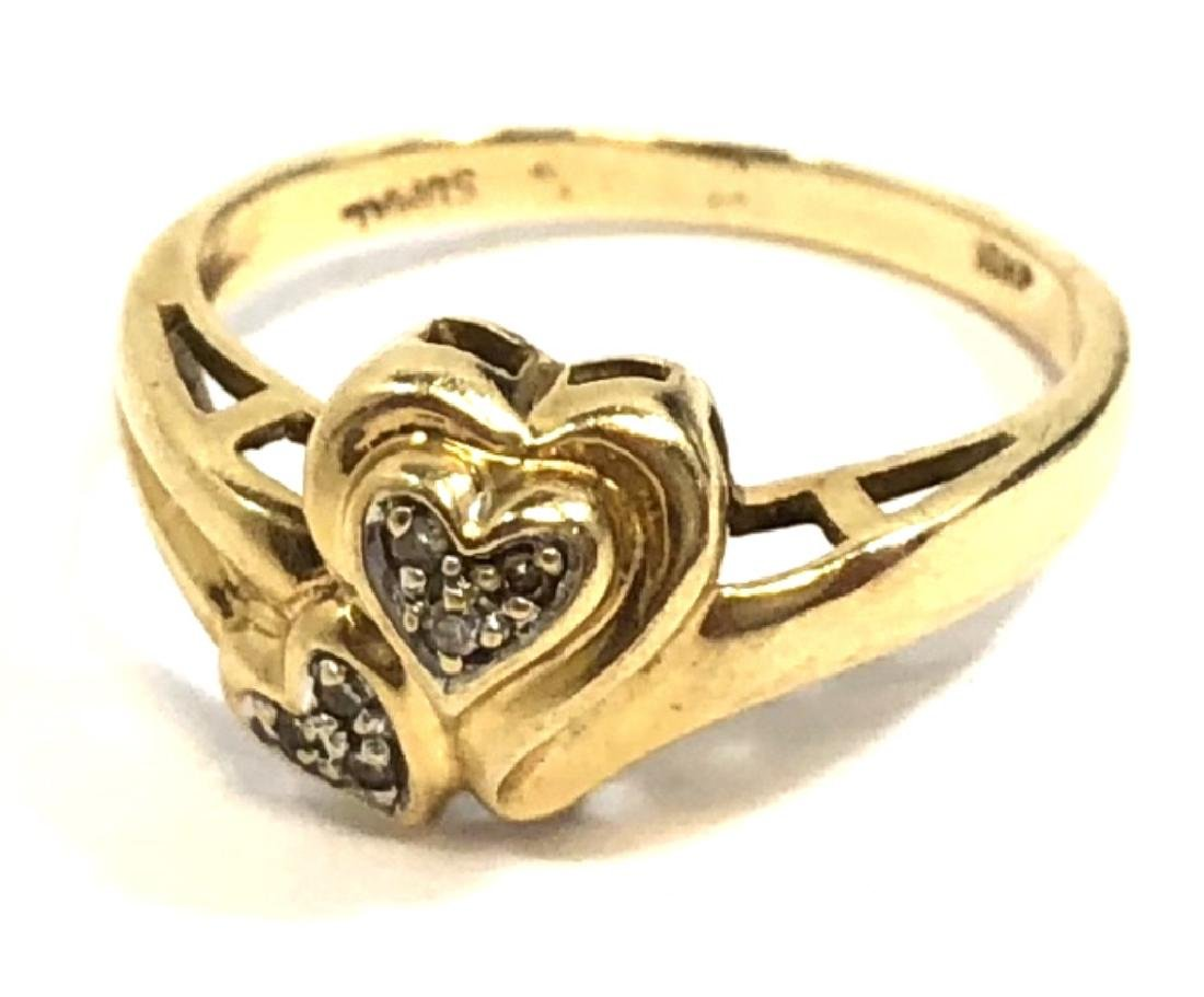 PRETTY 10K GOLD DOUBLE HEART DIAMOND ACCENT RING