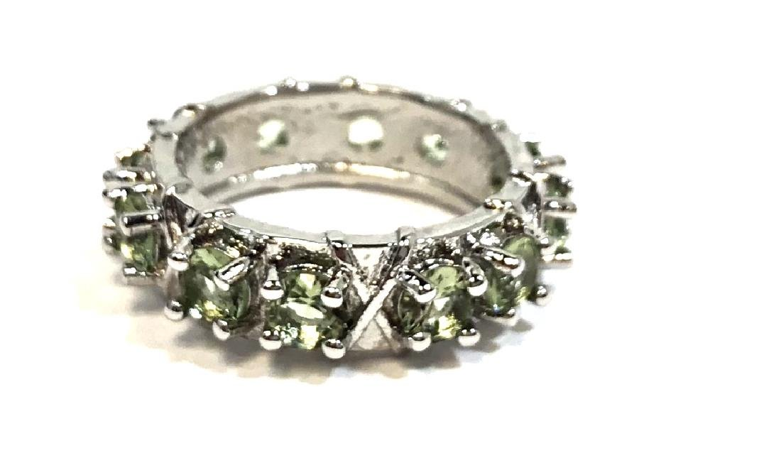 GORGEOUS 3CT ROW GREEN AMETHYST DECO STERLING RING