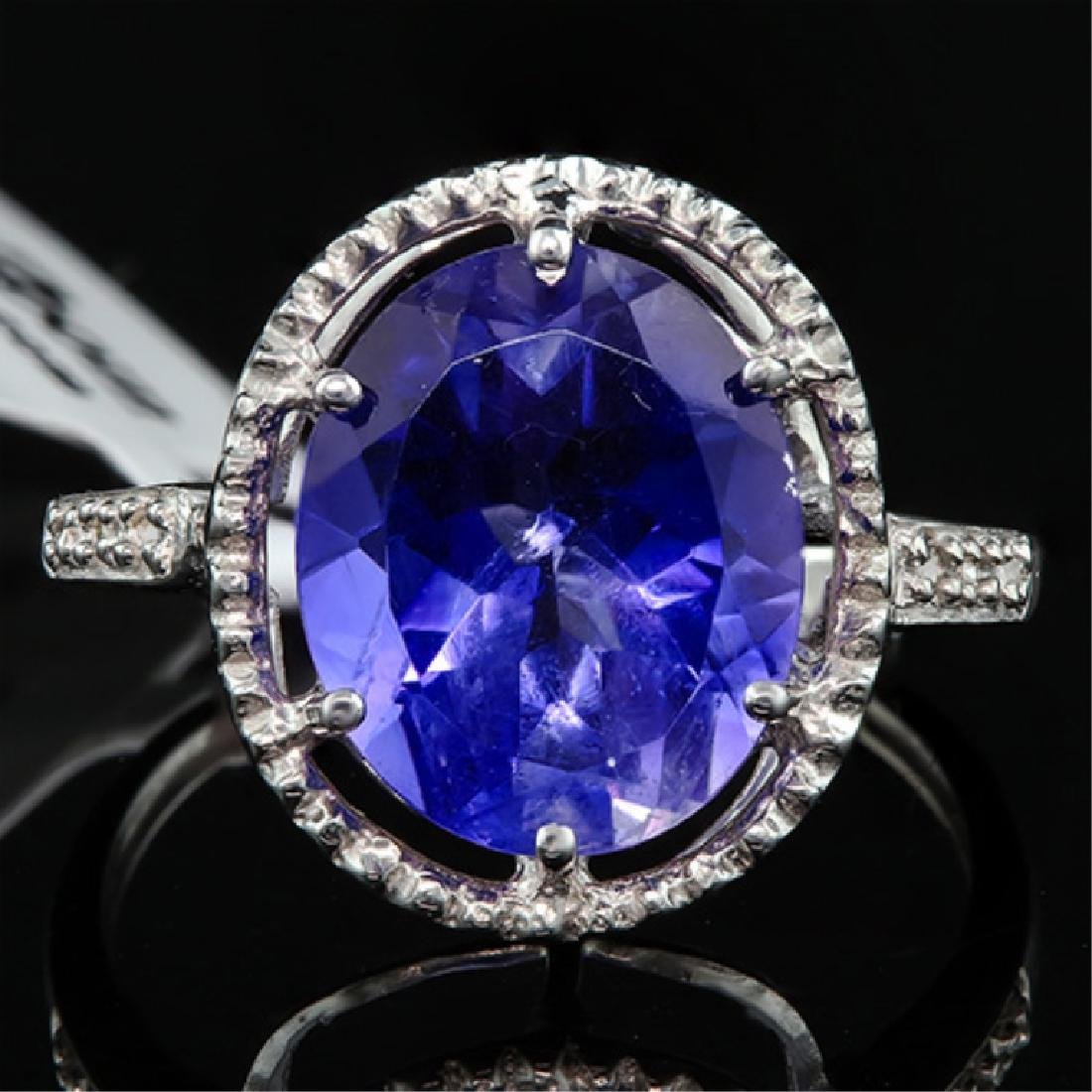 STUNNING 4CT OVAL TANZANITE/DIAMOND 10K GOLD RING