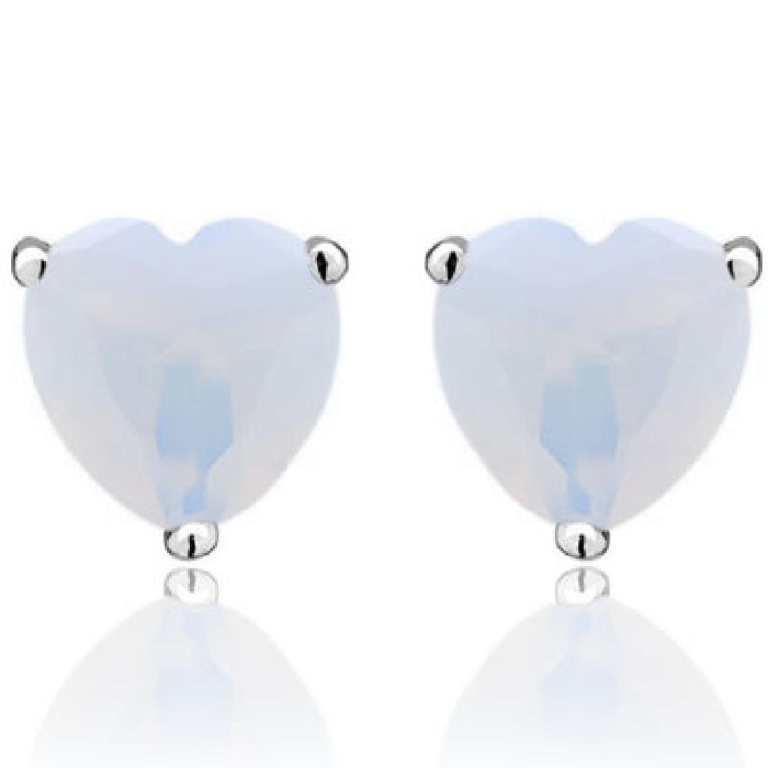 ELEGANT 1CT FIRE OPAL HEART CUT EARRINGS