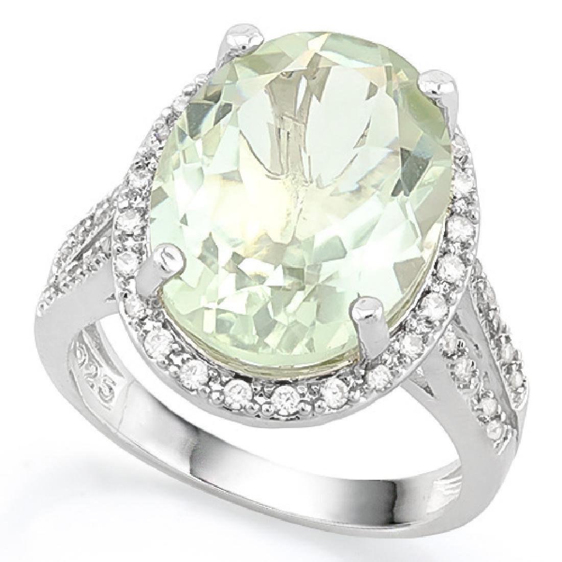 HUGE 8CT GREEN AMETHYST/DIAMOND OVAL FACETED RING