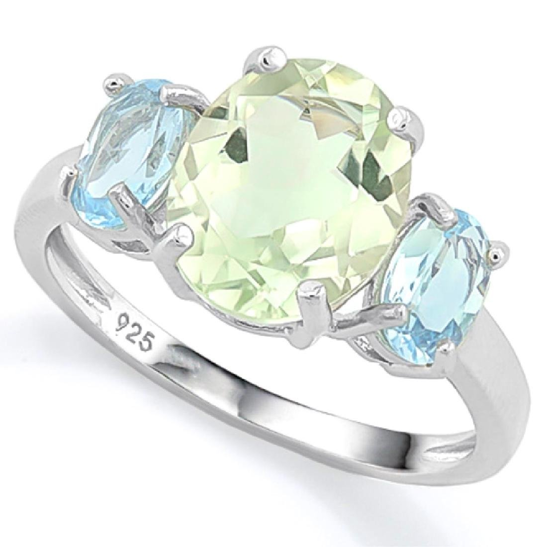 BEAUTIFUL GREEN AMETHYST/BLUE TOPAZ 4CT RING