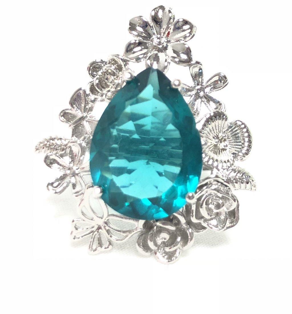 SPECIAL BLUE/GREEN QUARTZ PEAR CUT GEMSTONE RING