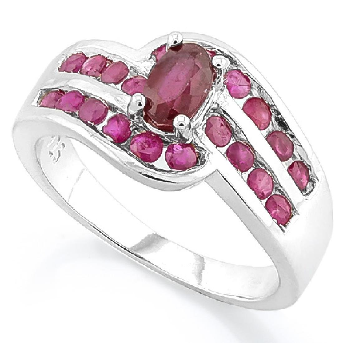 PRETTY 2CT AFRICAN RUBY DECO SET STERLING RING