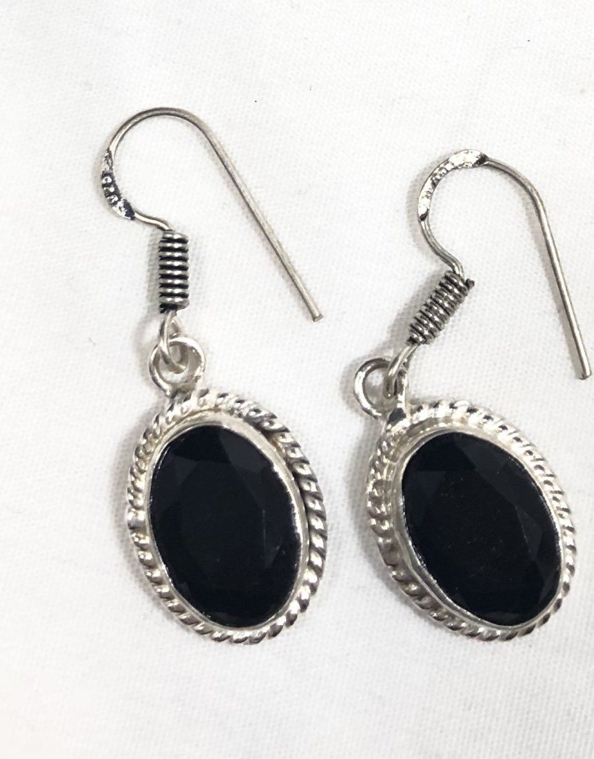 COOL 5CT FACETED BLACK AGATE GEMSTONE EARRINGS
