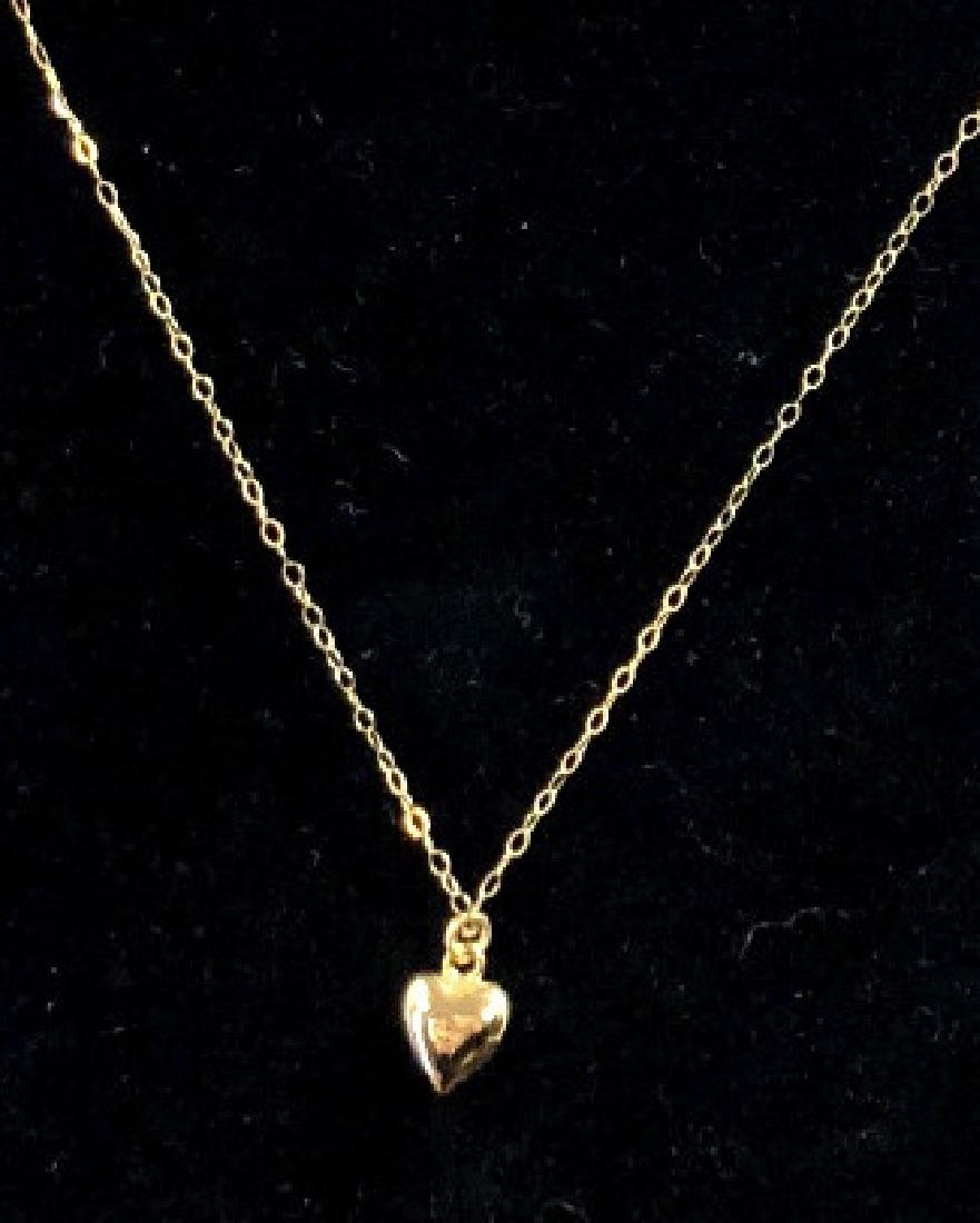 14K GOLD PUFF HEART CHARM NECKLACE ON GOLD CHAIN