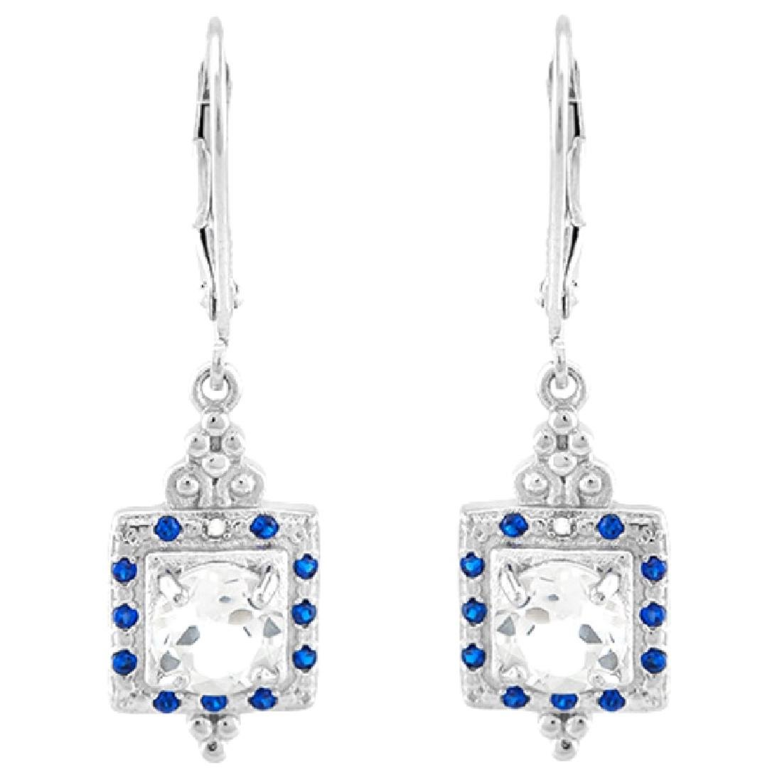 STERLING WHITE TOPAZ/SAPPHIRE STERLING DROP ERGS