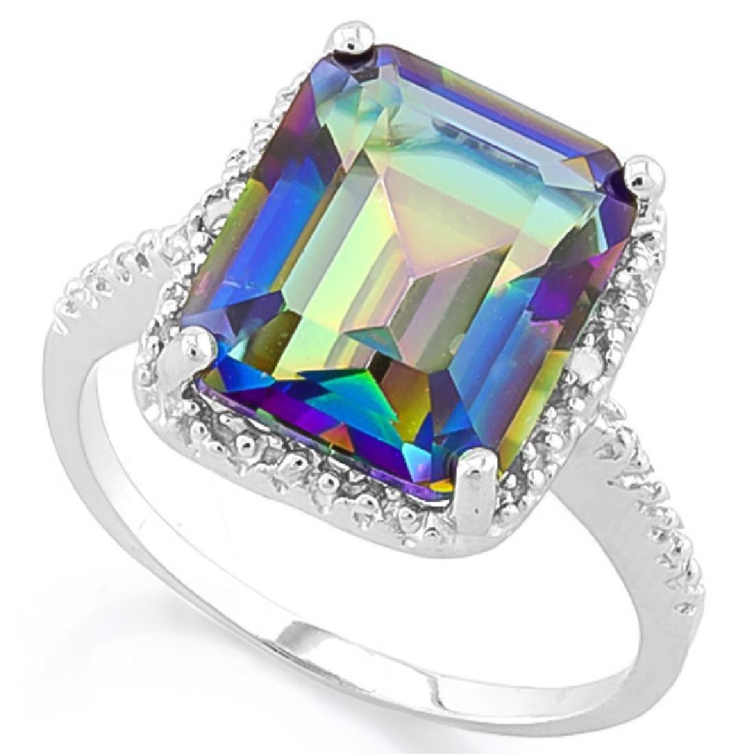 HUGE 5CT EMERALD CUT MYSTIC TOPAZ/DIAMOND RING