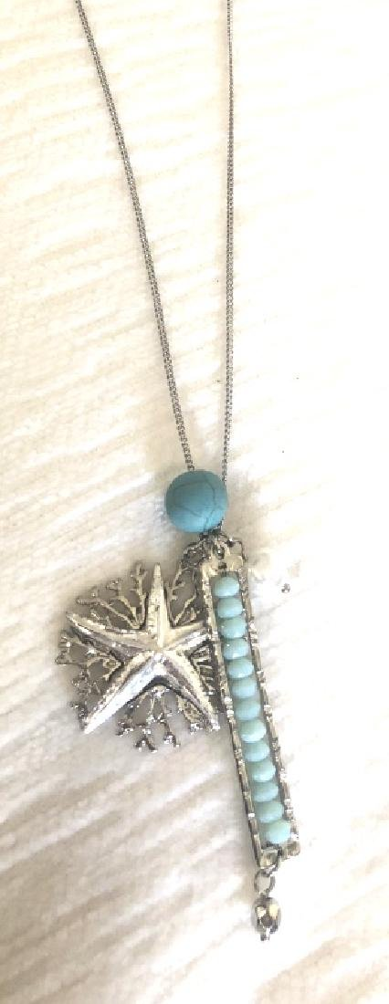 TURQUOISE ACCENT STARFISH CHARM NECKLACE