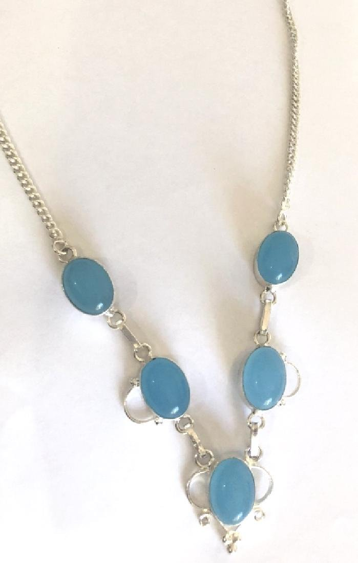 COOL CLOUDY BLUE AGATE GEMSTONE STERLING NECKLACE
