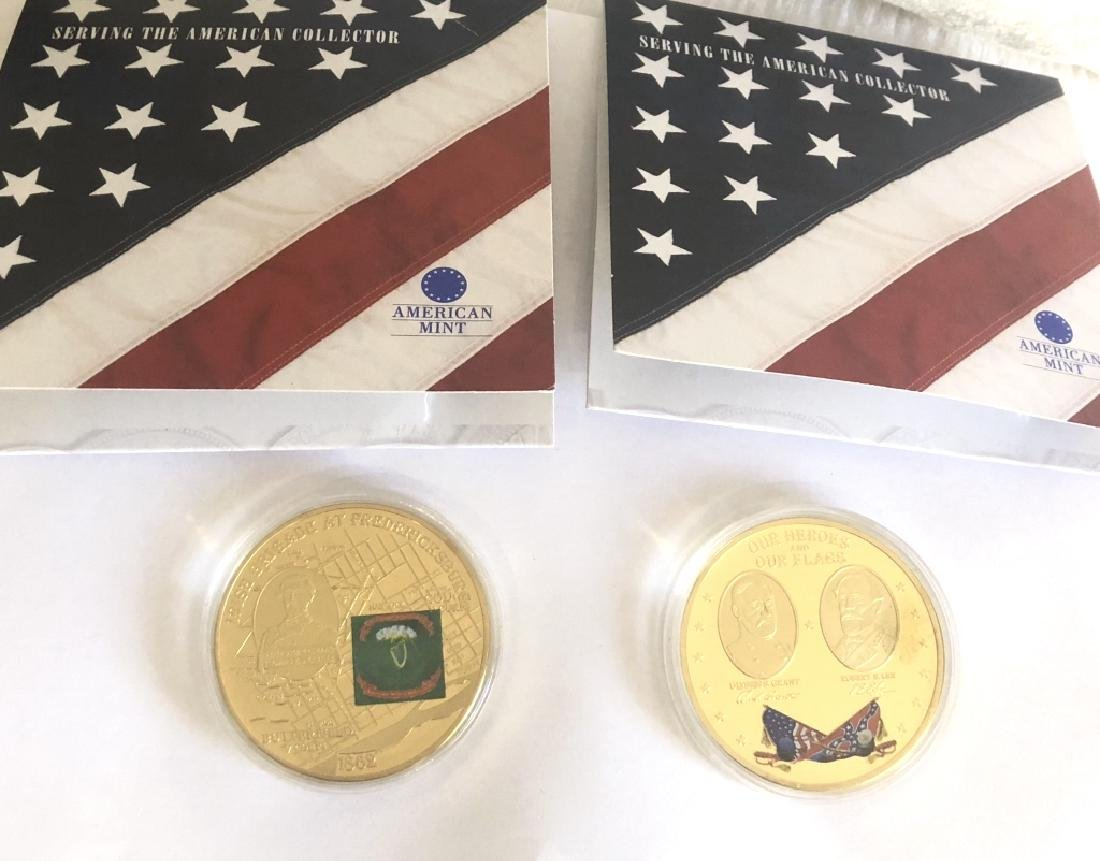 LOT OF 2 AMERICAN MINT CIVIL WAR BATTLE FLAG COINS